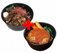 すごうまマヨカルビ丼×さっぱりおろしハンバーグ丼