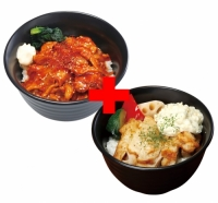 直火旨辛豚カルビ丼×タルタルチキンステーキ丼