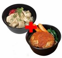 トントロ丼×さっぱりおろしハンバーグ丼