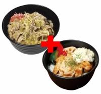 塩だれカルビ丼×タルタルチキンステーキ丼